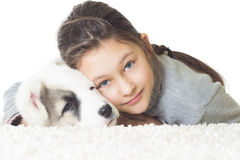 Child and pets. On a white background Royalty Free Stock Image