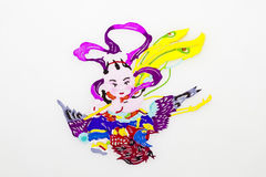 Child and Phoenix. An immortal child in traditional Chinese clothes descending on a phoenix from above the clouds, with purple stripe around his arms and a Royalty Free Stock Photos
