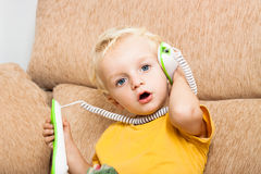 Child phone call Royalty Free Stock Photography