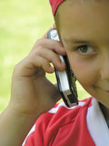 Child phone talking Stock Images