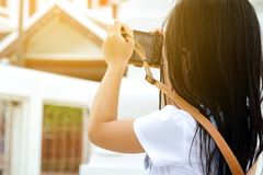 Child photographer, Asian girl Royalty Free Stock Photo