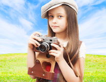 Child photographer outdoors Royalty Free Stock Photo
