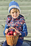 Child picking apples on a farm in autumn. Stock Photo