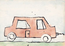 Child picture of brown car Stock Image