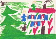 Child picture of house with people and animals Royalty Free Stock Image
