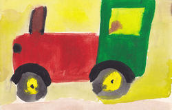 Child picture of tractor on road to field Royalty Free Stock Photography