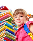 Child with pile of books. Stock Photos