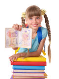 Child with pile of books. Royalty Free Stock Photography