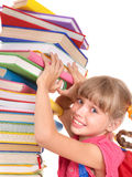 Child with pile of books. Royalty Free Stock Photo