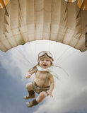 Child Pilot. Kid Playing Outdoors. Kid Pilot With Toy Jetpack Ag Stock Photo
