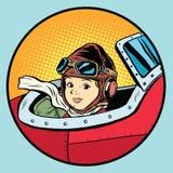 Child pilot plane game dream aviation Royalty Free Stock Image
