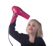 Child with Pink Hair Dryer Royalty Free Stock Photos