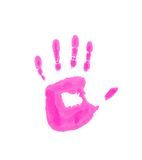 Child pink handprint. Isolated on the white Royalty Free Stock Photos