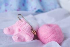 Child pink socks Stock Photos