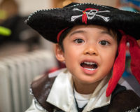Child in a pirate costume. Child dressed as a pirate for Halloween stock photography