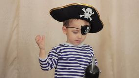 Child in a pirate costume stock video footage