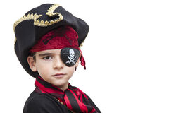 Child pirate costume. Isolated on white stock photography