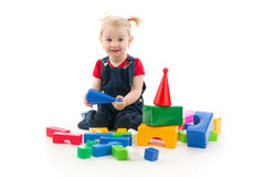Child plaies with cubes Royalty Free Stock Image