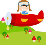 Child in Plane. Illustration of a child in Plane Stock Image