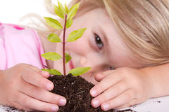 Child with plant smiling Stock Photos