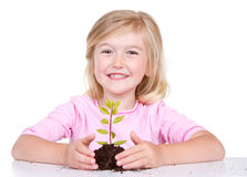 Child with plant Royalty Free Stock Photography