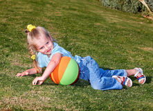 Child play with  ball in  park Royalty Free Stock Images