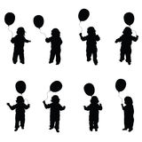 Child play with balloon set illustration in black Royalty Free Stock Images