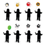 Child play with balloon vector illustration in colorful Stock Images