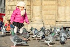 Child play birds baby girl Stock Image