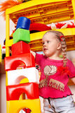 Child play block and construction set in playroom. Stock Image