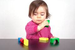 Child play with bricks Royalty Free Stock Image