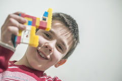 Child play with children's constructor toys Stock Photography