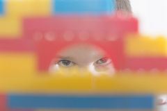 Child play with children's constructor toys Royalty Free Stock Photography
