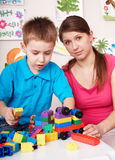 Child play construction set in games room. Stock Images