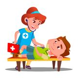Child Play Doctor Lying Unconscious On Bench And Second Child Girl Provides First Aid Vector. Isolated Illustration. Child Play Doctor Lying Unconscious On Bench stock illustration