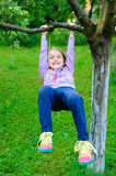 Child play garden tree hanging Stock Photos