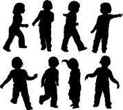 Child play and move. Silhouette of child who plays and moves Royalty Free Stock Photo