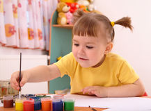 Child play with paints in preschool Stock Photos