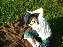 Child play on park. Happy child plays on park Stock Photos