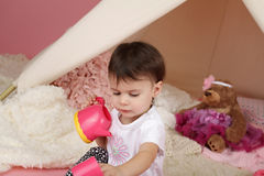Child Play: Pretend  Food, Toys and Teepee Tent Royalty Free Stock Images
