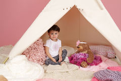 Child Play: Pretend  Games Toys and Teepee Tent Stock Photography