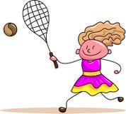Child play with tennis ball. Cartoon image Stock Photo