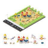 Child Playground Isometric Concept. With people slide swing sandbox carousel bench and trees vector illustration Royalty Free Stock Photo