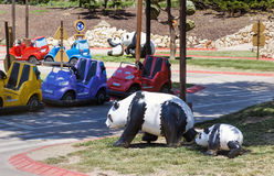 Child playground with pandas and cars Royalty Free Stock Photos