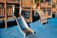 Child playground shaped old wooden pirate ship in Royalty Free Stock Images