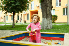 Child on playground in summer park Royalty Free Stock Photography