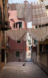 Child playing alone in venice - the other side of Venice - Italy. Child playing alone - Traditional Italian street with clothes hanging out to dry between old stock photos