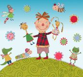 Child playing with animals. Colorful fabric and paper quiltting Stock Photography