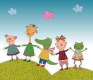Child playing with animals. Colorful fabric and paper quiltting Royalty Free Stock Image