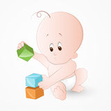 Child Playing with Baby Blocks Stock Images
